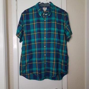 J.Crew Short Sleeve Button Down Plaid Shirt Size L